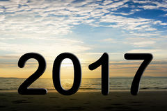 2017 text on blur background Stock Image