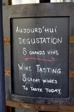 Text board with advertisement for wine tasting Royalty Free Stock Images