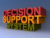Decision support system. Text in bold 3D letters reading 'decision, support, system' in red, yellow and green letters on a blue shaded background Stock Images