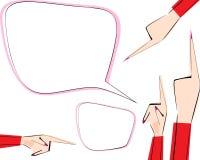 Text a bolha e as mãos fêmeas ajustadas com apontar lados diferentes dirigidos os dedos Ilustração do vetor Ícones para dirigir,  ilustração do vetor