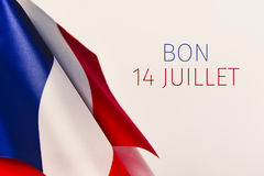 Text bon 14 juillet, happy 14 july in French Royalty Free Stock Photo