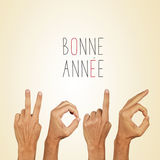 Text bonne annee 2016, happy new year 2016 in french royalty free stock image