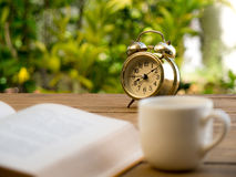 Text book with vintage alarm clock and White coffee cup on the wood table. The background is green from tree and light bokeh Stock Photos