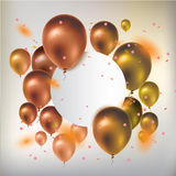 Text box banner with gold balloons and confetti. Greeting card. Vector illustration Royalty Free Stock Images