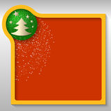 Text box with a Christmas motif and falling snow. Yellow text box with a Christmas motif and falling snow vector illustration