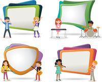 Free Text Box Frame Background With Cartoon Children Playing On A Rock`n`roll Band Stock Photography - 134763892