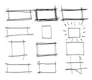 Text box and frames.Set hand drawn rectangle,art illustration st Stock Photos