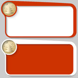 Text box and golden Christmas motif. Two red vector text box and golden Christmas motif royalty free illustration