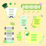 Text box pop up and banner clover set stock illustration