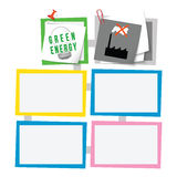 Text boxes. Colored abstract text boxes for your text and green energy symbol Royalty Free Stock Images