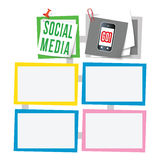 Text boxes. Colored abstract text boxes for your text and social media symbol Royalty Free Stock Image
