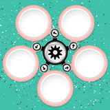 Text boxes. Five colored circular text boxes and cogwheel Stock Images