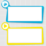 Text boxes. Set of two text boxes for text and play symbol Royalty Free Stock Image