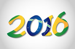 Text 2016 with brazilian flag. Royalty Free Stock Photography