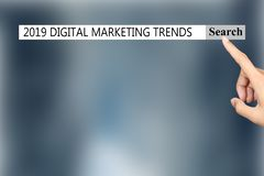 The text in the browser shows `2019 DIGITAL MARKETING TRENDS`. stock illustration