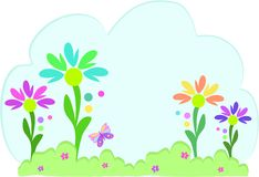 Text Bubble with Flower Garden Stock Photography