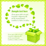Text bubble from foliage with green box of leaves Stock Images