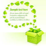 Text bubble from foliage with green box of leaves Royalty Free Stock Photos