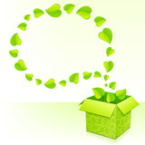 Text bubble from foliage with green box of leaves Royalty Free Stock Image