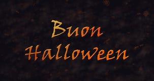 Text Buon Halloween in der italienischen Auflösung in Staub zum einen Tiefstand zu erreichen stock abbildung