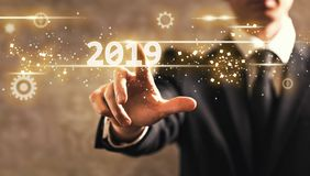 2019 text with businessman stock image