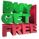 Buy one get one free. Text 'buy 1 get  1 free' in 3D uppercase letters and numbers in green and  brown colors, white background Royalty Free Stock Image