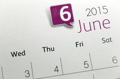 Text on calendar show in monthly of 2015. Stock Image