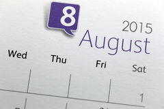 Text on calendar show in monthly of 2015. Royalty Free Stock Photo