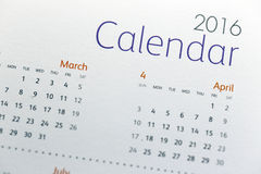 Text on calendar show in 2016 year. The picture Text on calendar show in 2016 year stock photography