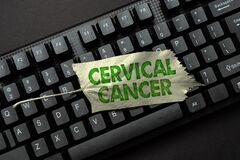 Text caption presenting Cervical Cancer. Business concept type of cancer that occurs in the cells of the cervix Retyping