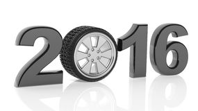 2016 text with car wheel rim Stock Photo