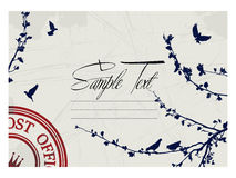 Text card. Sample text card design with pigeon and tree silhouettes Stock Images