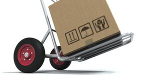 FULFILLMENT text on cardboard box loaded on a delivery cart. 3d animation