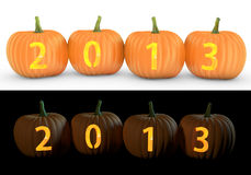 2013 text carved on pumpkin jack lantern. On and white background vector illustration