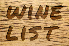 Text carved wood wine list Royalty Free Stock Photo