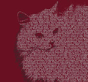 Text cat 2. White cat's face drawn with text on dark red background Royalty Free Stock Image