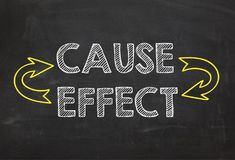 Text Cause and Effect. Cause and Effect information concept on blackboard background. Business Concept Stock Images