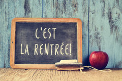 Text cest la rentree, back to school in french, written on a cha Stock Photography