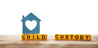 Text CHILD CUSTODY made of yellow blocks Royalty Free Stock Image
