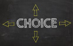 Text `Choice` with four arrow. Choice information concept on blackboard background. Business Concept Royalty Free Stock Images