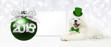 Text 2018 with Christmas ball and magic funny dog with green hat. Isolated on white Stock Image