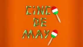 Text Cinco de mayo and two maracas on orange background 3D illustration. Text Cinco de mayo and two maracas painted with colors of mexican flag on orange