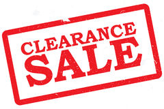 "Clearance Sale. Text ""clearance sale"" in bold uppercase red letters inside a grunge red rectangular box, white background Royalty Free Stock Photography"