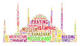Text cloud and arrangement with mosque shape concept Stock Images