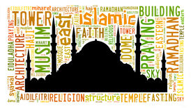 Text cloud and arrangement with mosque shape concept Stock Photo