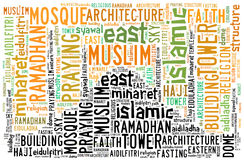 Text cloud and arrangement with mosque shape concept Stock Image