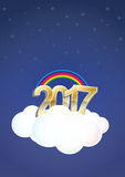 2017 text cloud. Illustration of 2017 text on cloud with stars Royalty Free Stock Photography