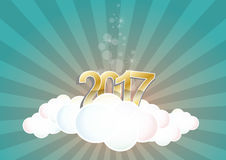 2017 text cloud. Illustration of 2017 text on cloud with stars Stock Photography