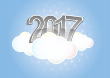 2017 text cloud. Illustration of 2017 text on cloud with stars Stock Images