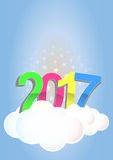 2017 text cloud. Illustration of 2017 text on cloud with stars Royalty Free Stock Photo